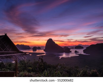 """Beautiful and stunning sunrise from """"Samet nangshe viewpoint"""" Thailand."""