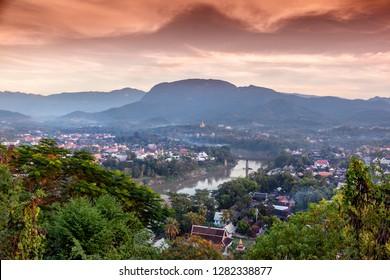 Beautiful stunning sunset in Luang Prabang Laos, from Mount Phusi. Laos is a popular travel destination in Southeast Asia