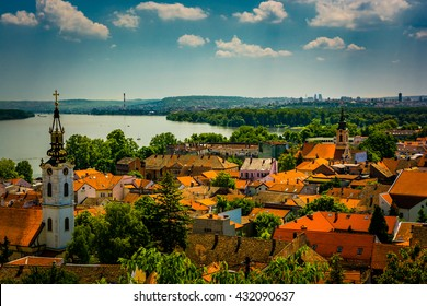 Beautiful Stunning view over Belgrade Serbia and Danube river from above in Zemun