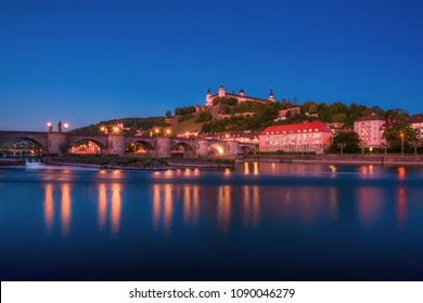 Beautiful stunning view of Wurzburg Old Main Bridge over the Main river and the Castle in the Old Town of Wurzburg, Bavaria, Germany - part of the Romantic Road.