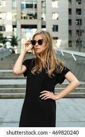 Beautiful stylish girl on street