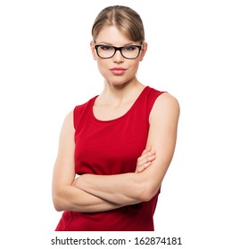 Beautiful stylish optician woman posing in studio in modern eyeglasses. Young attractive Caucasian fashion female model in spectacles, isolated on white background.