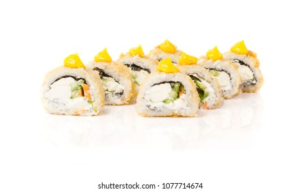 Beautiful and stylish sushi roll isolated on white