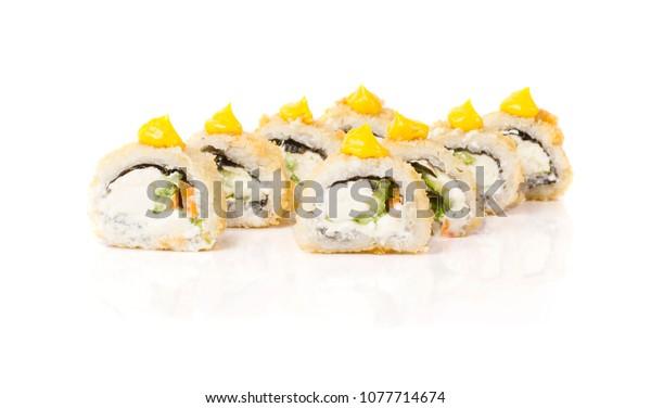 Beautiful and stylish sushi roll isolated on white
