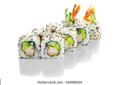 Beautiful and stylish sushi roll with shrimp and avocado isolated on white