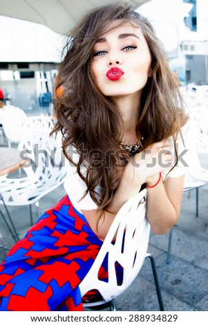 b221ab856c8 Beautiful stylish young fashion girl with perfect evening make-up with pink  lips and green