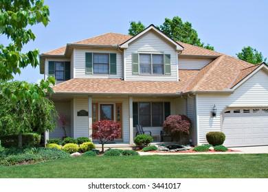 A beautiful suburban American home.