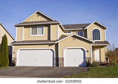 beautiful suburban luxury house at sunny day