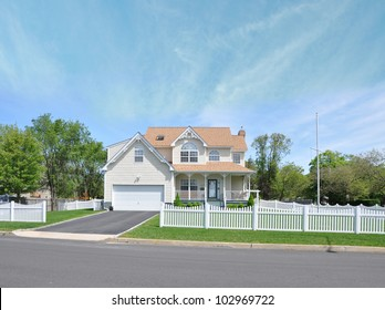 Beautiful Suburban Victorian Style Home White Picket Fence Residential District Neighborhood Sunny Blue Sky Day