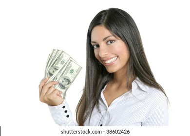 Beautiful success businesswoman holding Dollar notes, isolated on white