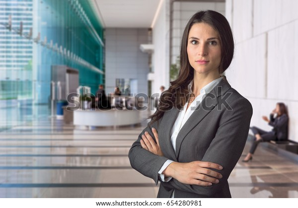 Beautiful successful proud confident corporate lawyer for big business corporation company
