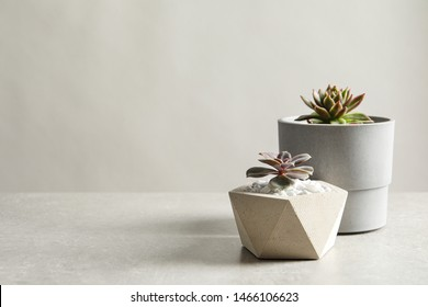 Beautiful succulent plants in stylish flowerpots on table against light background, space for text. Home decor