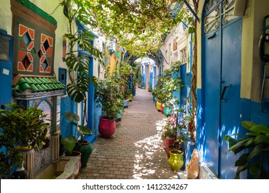 A beautiful and suggestive Tangier kasbah with colored walls and doors and a lot of plant and flowers outdoor.