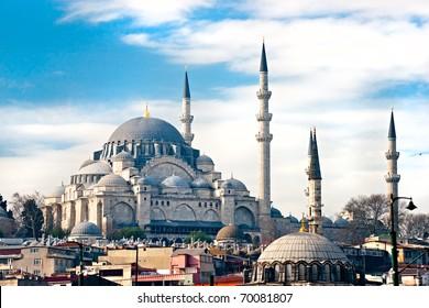 The beautiful Suleymaniye Camii  Istanbul, Turkey.