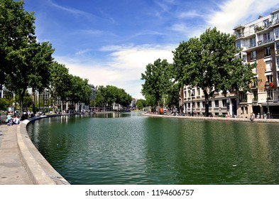 Beautiful Summer Afternoon in the Canal Saint-Martin in Paris