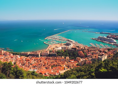 Beautiful summer city view and colorful eyecatching seascape on sunny day from medieval castle Arechi - the highest top of Salerno, Italy