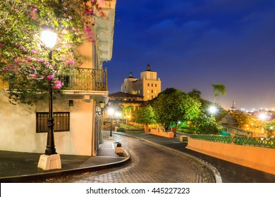Beautiful summer cityscape of old San Juan, Puerto Rico, at the blue hour at night