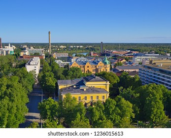 Beautiful summer cityscape view of Finnish town Vaasa by the Baltic Sea.