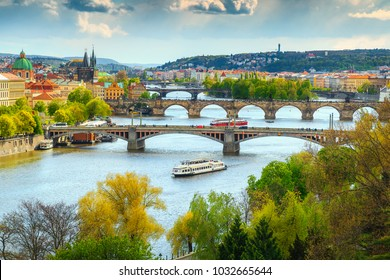 Beautiful summer cityscape, Vltava river and old city center, Prague, Czech Republic, Europe