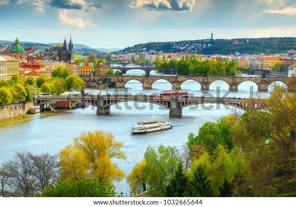 Beautiful summer cityscape, Vltava river and old city center, Prague, Czech Republic, Europe