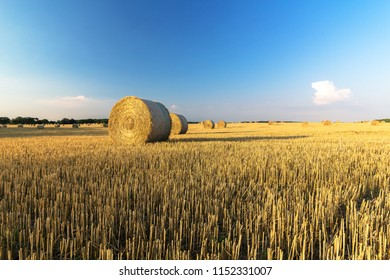 Beautiful summer country Field with Hay Bales and blue sky