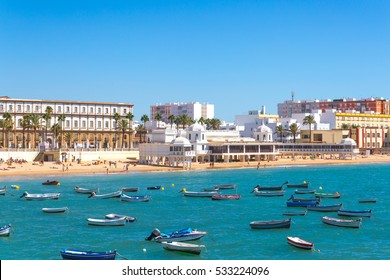 Beautiful Summer day in beach of Cadiz, Andalusia, Spain