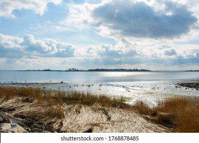 Beautiful summer day by the Long Island Sound at Calf Pasture Beach in Norwalk, Connecticut USA