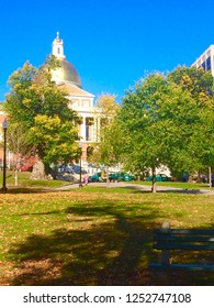 Beautiful summer day with a cloudless blue sky overlooking Boston Common and the Massachusetts State House