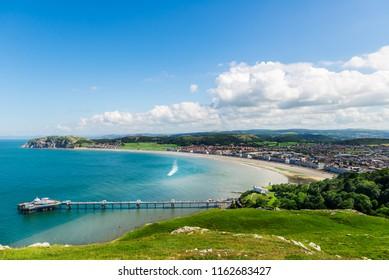 Beautiful Summer Day in  Llandudno Sea Front in North Wales, United Kingdom