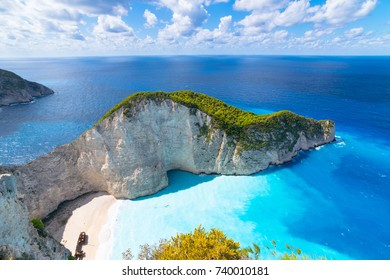 Beautiful summer day on Navagio Beach and Shipwreck bay view point - Zakynthos Island - Greece