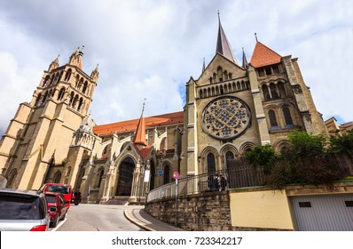 Beautiful summer day view of Lausanne Cathedral of Notre Dame, Lausanne, Vaud, Switzerland, Europe. One of Popular Lausanne old town Architectural Attractions, Landmarks, Tourist travel destinations.