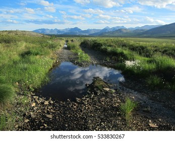 Beautiful summer evening on the road to Jack London lake in Siberia, Russia