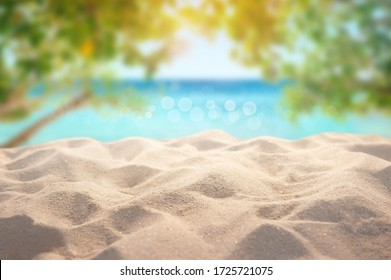 Beautiful Summer exotic sandy beach with blur tree and sea on background