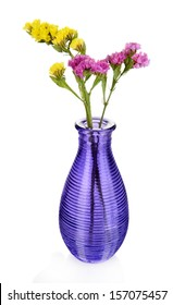 Beautiful summer flowers in vase isolated on white