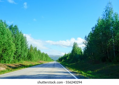 Beautiful summer forest along the way in Lapland. Northern Finland. Mountains in background.