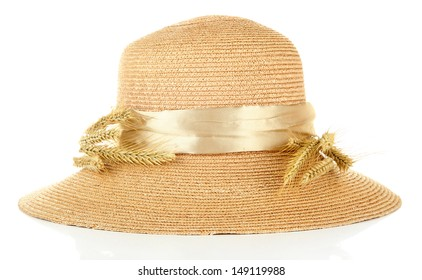 Beautiful summer hat with spikelets isolated on white