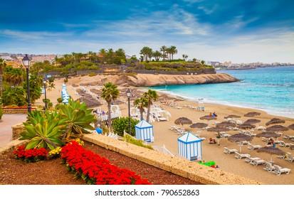 Beautiful summer holiday on EL Duque beach of Tenerife, on Adeje coast, Canary Island - Spain