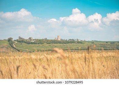 beautiful summer landscape with Hadleigh Castle (UK) in the background