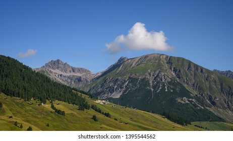 Beautiful summer landscape from Livigno in Italy: mountains with pine trees and green grass, blue sky with a white cloud over the mountain top, travel photography