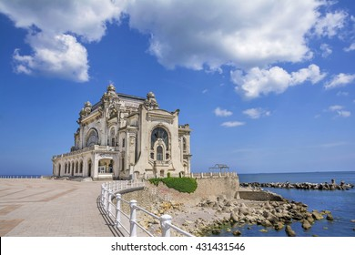Beautiful summer landscape with Old Casino, symbol of the Constanta city, Romanian coastal destination at  the Black Sea