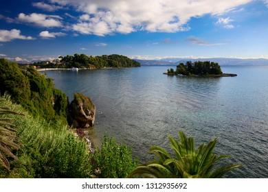 Beautiful summer landscape on the coast of Corfu island in Greece