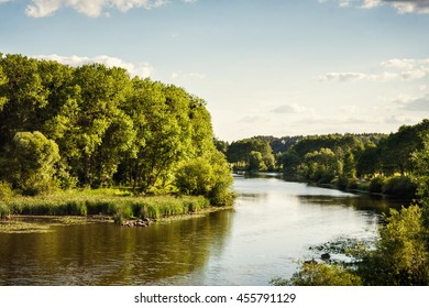 Beautiful summer landscape with river Southern Bug and blue sky in Vinnitsa, Ukraine