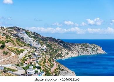 beautiful summer landscape of sea coast in Crete island, Greece