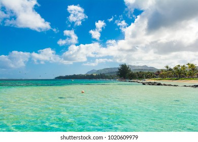 Beautiful summer landscape of the tropical coast with palms and sandy beach, Bel Ombre, Mauritius island