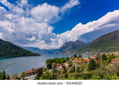 Beautiful summer landscape. View of Lake Iseo, Italy, the Alps.