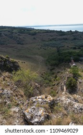 Beautiful summer landscape. The view to the valley and the resrvoir storage Stanca-Costesti.