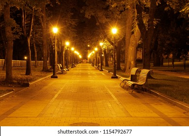 A Beautiful Summer Night in the Part with lights. Alley in the park with lighting lamps. Romantic scene. Horizontal Photography.