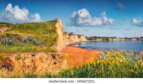 Beautiful summer scenery. Amazing summer landscape of Mania Beach. Colorful morning scene of Cephalonia island, Greece, Europe. Nice seascape of Ionian Sea. Traveling concept background.