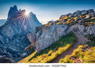 Beautiful summer scenery. Charming morning view of Furchetta peak. Superb summer scene of Funes Valley. Picturesque landscape in Puez Odle National Park, Dolomite Alps, Italy, Europe.