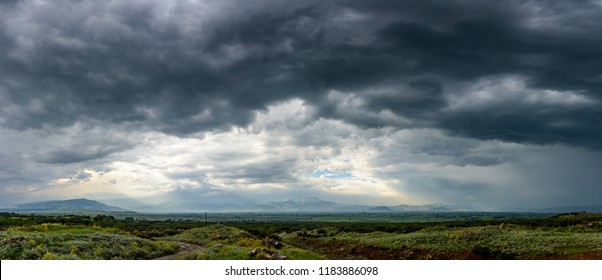 Beautiful summer scenery on a mountain top at Vitosha, Bulgaria - amazing landscape with vivid colors and dark moody skies